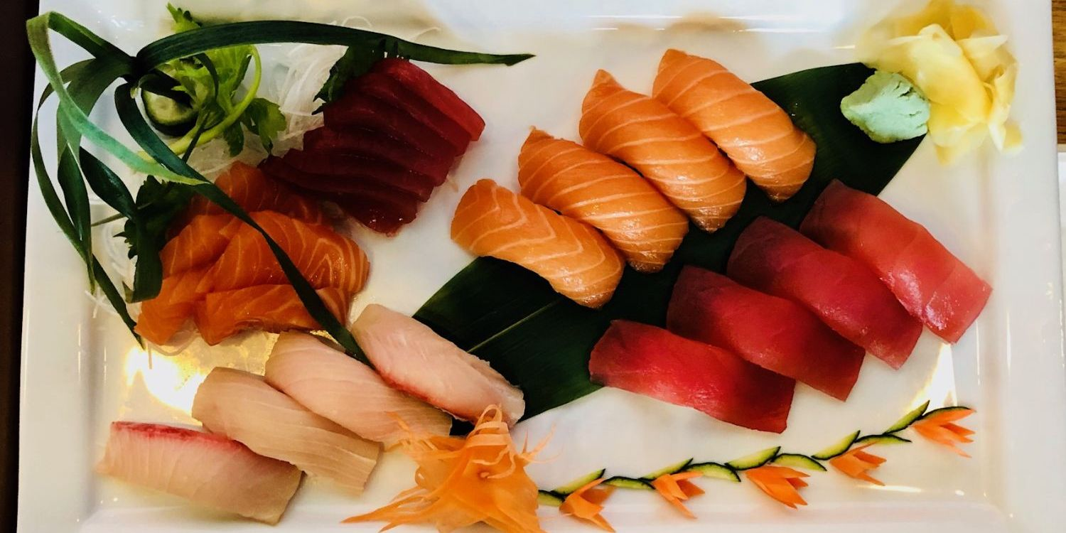 a sushi combo plate